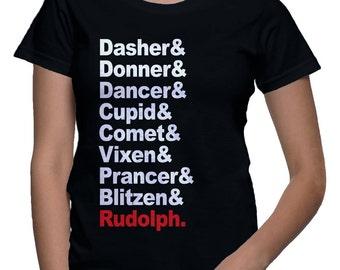 santas reindeer list shirt -rudolph shirt -  Womens