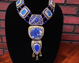 Atlantis, azurite, lapis lazuli and citrine necklace, gem embroidery necklace, handcrafted beaded necklace, royal blue and gold necklace