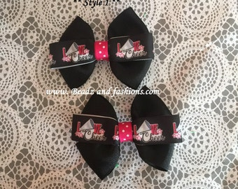 cheer pink black 2pc hairbow set or bow tie 2 styles 4 inches cheer leader