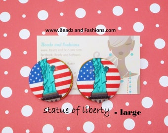 Statue of Liberty new york cover fabric earrings style #1