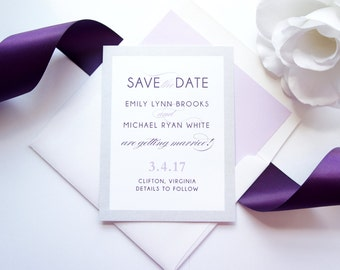 Purple Save the Date Card, Silver and Purple Save the Date Cards, Printed Save the Date, Modern Save the Dates - DEPOSIT