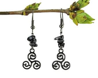 Gemstone earrings, obsidian jewelry, january birthstone earring capricorn birth stone jewelry gunmetal dangle earring gemstone jewelry trisk