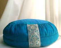 Blue Meditation Cushion //Zafu Cushion // silk meditation cushion // turquoise meditation cushion //