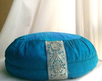 Blue Meditation Cushion //Zafu Cushion // silk meditation cushion // turquoise meditation cushion //