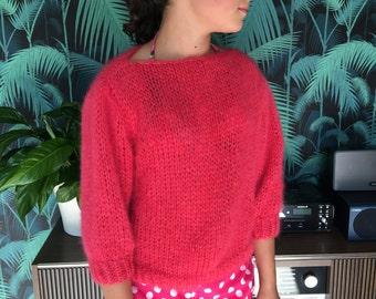 Raspberry rose sweater in kid mohair