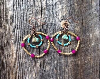 Dangle earrings - small earrings - bohemian earrings - hoop earrings