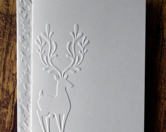 10 Reindeer Cards, White Embossed Christmas Cards, Greeting Cards, Rustic Cards, Country Christmas Cards, Blank Winter Cards, Holiday Cards
