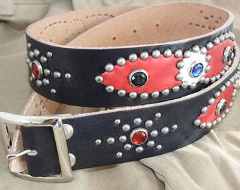 Handmade studded rockabilly belt, western belt, biker belt