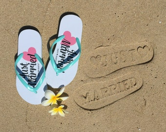 Just Married Imprint Honeymoon / Beach Wedding Flip Flops Slippers Stamp In Sand