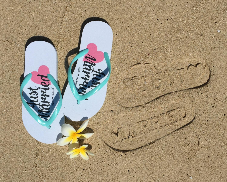 just married imprint honeymoon beach wedding flip flops. Black Bedroom Furniture Sets. Home Design Ideas
