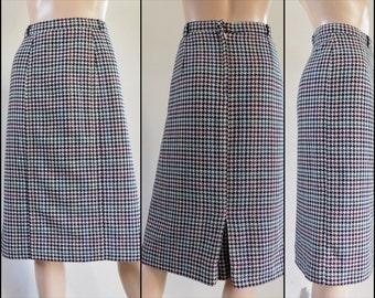 """Vtg black white check pencil skirt French black white houndstooth check wool skirt size Medium 33"""" waist"""