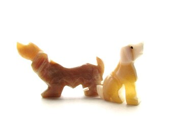 2 Hand Carved Onyx Dog Figurines
