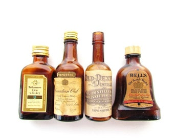 Instant Collection Vintage Amber Glass Liquor Bottles #B022
