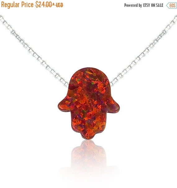 Red Opal Hamsa Necklace 925 Silver Chain • Lowest Price on Etsy • Safe to Get Wet • Unique Gift Under 15 Dollars