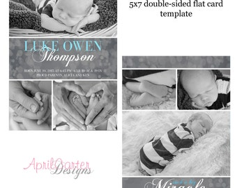 Baby Boy Birth Announcement Template-5x7 flat, double-sided card