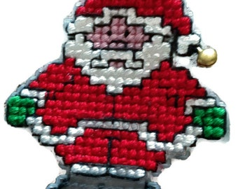 Cross stitch Santa, cross stitch, plastic canvas decoration, Christmas decoration, Father Christmas, Christmas hanging, festive decoration