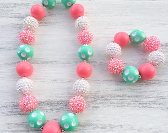 Pink Mint and White Bubblegum Necklace, Girl Toddler Necklace, Girls Chunky Necklace, Chunky Bubblegum Necklace, Kids Necklace, Bracelet