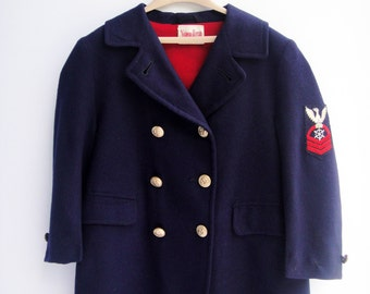 Toddler Coat, 1940's Navy Wool Coat Double Breasted, Boy's Jacket, Size 4T