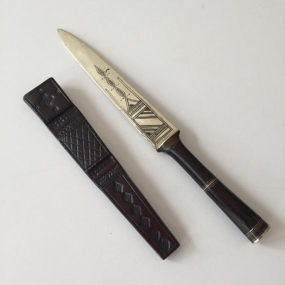 metal letter opener with leather sheath With letter opener sheath