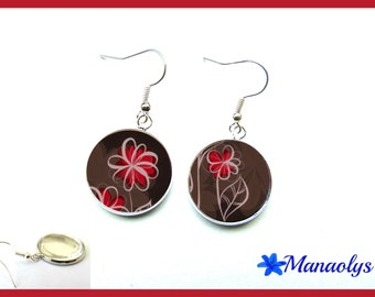 Red flowers, glass cabochons earrings