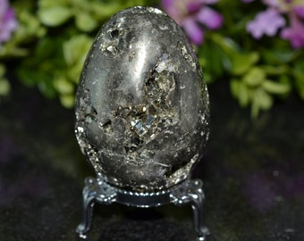 Stunning! Pyrite Crystal Egg 58 MM, Pyrite Egg
