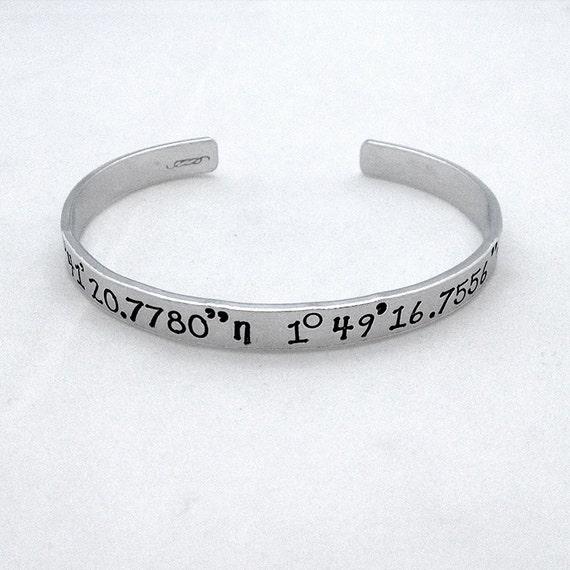 personalised coordinate bracelet custom gps coordinate
