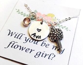 Flower Girl Necklace, Flower Girl Gift, Bridesmaid Necklace,Wedding Necklace, Wedding Jewelry, Handstamped, Will you be my flower girl