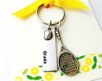 Tennis Keychain, Tennis Racket, Tennis Player Jewelry, Play Tennis, Coach Gift, Tennis Player Gift, Tennis Charm Keychain