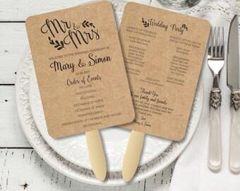 Wedding Fan Program, Rustic Kraft Calligraphic Mr and Mrs Foldable Wedding Program, customized wedding program template, digital PDF, DIY