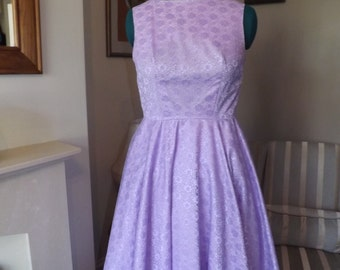 Lilac Lace Vintage Style Full Circle Dress UK 14