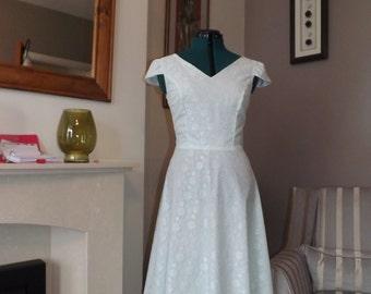 Green White lace Handmade Vintage Style Dress UK 8