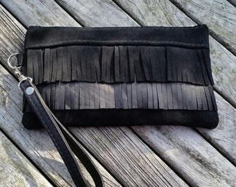Black suede & leather clutch bag, suede wristlet with fringe, black leather purse