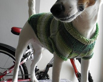 Cotton Dog Sweater, Hand Knit Soft, Green  Colour. Pastel Cosy Dog Sweater. Medium size