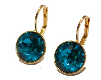 Swarovski Elements Emerald Bella Earrings - Gold Plated Dangle Earrings with Lever Back Closure