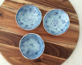 Set of three handmade pottery bowls