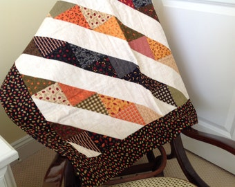 Autumn Lap Quilt, Fall Colors, Quiltsy Handmade