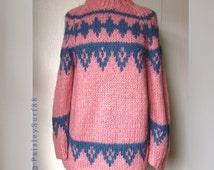 Vintage Italian MOHAIR Sweater Pink Blue Ski Style Mock Neck Handmade in Italy 1980s 80s