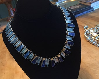 Lapis and Mexican Silver Modern Style Vintage Necklace, 19 in.