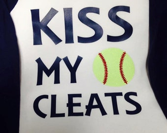 Softball Raglan T-shirt (Kiss My Cleats)