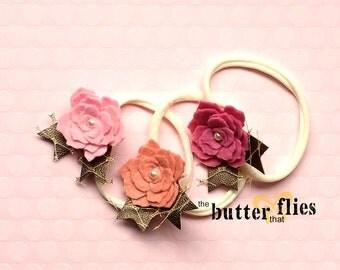 Baby/Girl Wool Felt Flower Headband - Wool Felt Rose Headband For Baby/Infant/Toddler/Girls - you pick colour