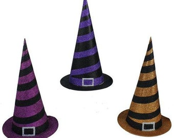 "12"" Glittered Witch Hat, Striped Witch Hat, Halloween Witch Hat, Wreath Accessories - HH7254"