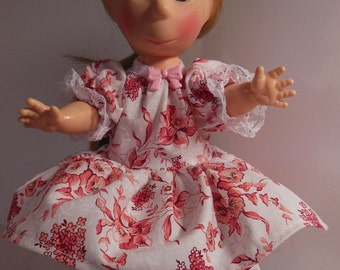 "Peach Floral Dress Set for 11"" Horsman Poor Pitiful Pearl Dolls"