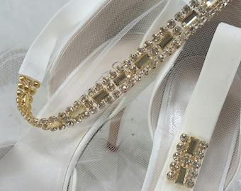 Bridal Garter, Gold Rhinestone Garter Set, Gold Garter, Rhinestone Garter, Wedding Garter, Garter, Best Friend Bridal 208G