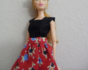 Barbie two-piece top and skirt set..  Easy on, easy off.