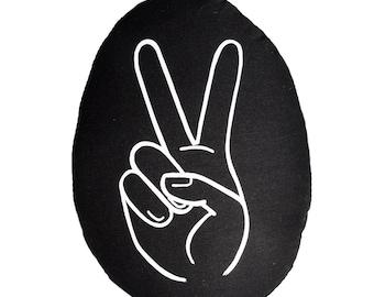 Peace Shakka Cushion, Kids Soft Toy, black and white