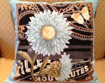 Black and Aged Blue Flower Scene Pillow Cover