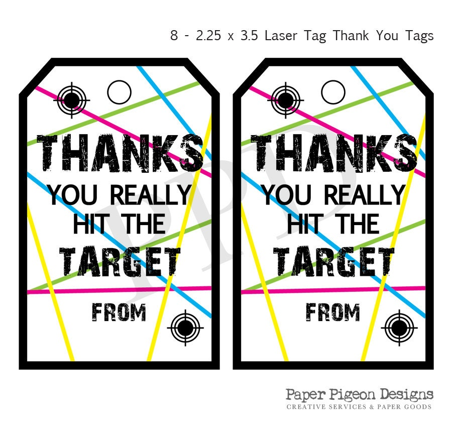 Laser Tag Party Instant Download Tags Laser Tag Printable