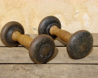 Antique French weight lifting / wooden and cast iron / dumbbell /dumbbells / barbell/barbells/ Williams Co Paris