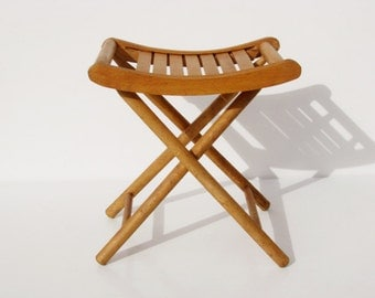 Antique French folding chair outdoor camping fishing wooden garden camp stool picnic