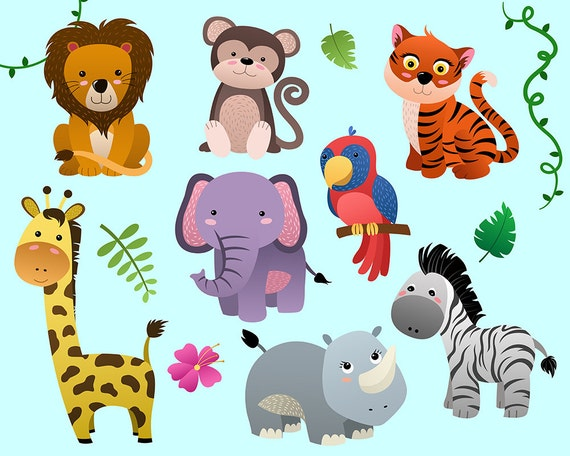 Cute Jungle Animals Clip Art - Set of 14 PNG, JPG, and ...